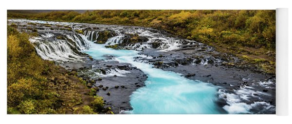 Yoga Mat featuring the photograph Bruarfoss In The Gloom by Rikk Flohr