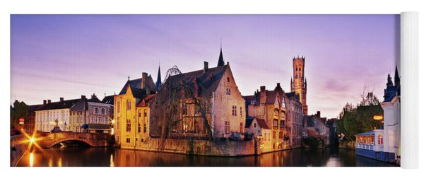 Yoga Mat featuring the photograph Bruges At Dusk by Barry O Carroll