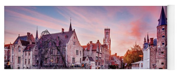 Yoga Mat featuring the photograph Bruges Sunset by Barry O Carroll