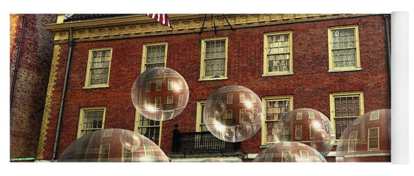 Bubbles Of New York History - Photo Collage Yoga Mat