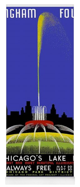 Buckingham Fountain Vintage Travel Poster Yoga Mat