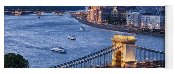 Budapest Cityscape At Dusk Yoga Mat
