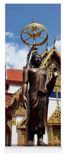 Buddha Statue With Sunshade Outside Temple Hat Yai Thailand Yoga Mat