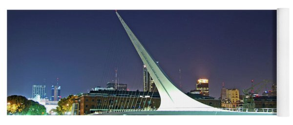 Buenos Aires - Argentina - Puente De La Mujer At Night Yoga Mat