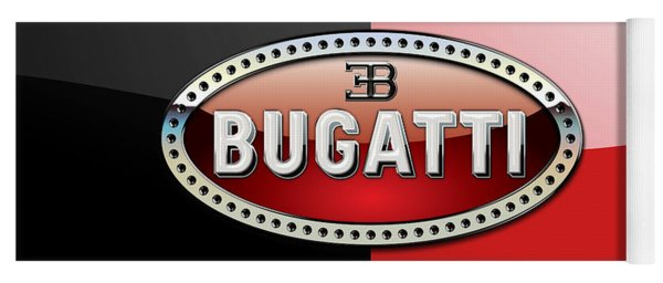 Bugatti 3 D Badge On Red And Black  Yoga Mat