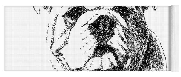 Bulldog-portrait-drawing Yoga Mat