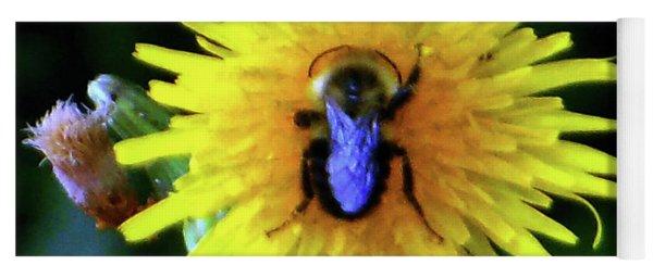 Yoga Mat featuring the photograph Bullseye Bumblebee Dandelion by Rockin Docks Deluxephotos
