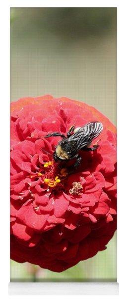Bumble Bee On Zinnia Yoga Mat