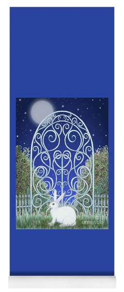 Yoga Mat featuring the mixed media Bunny, Gate And Moon by Lise Winne