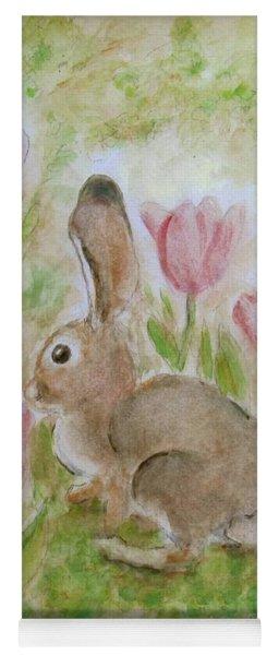 Bunny In The Tulips Yoga Mat
