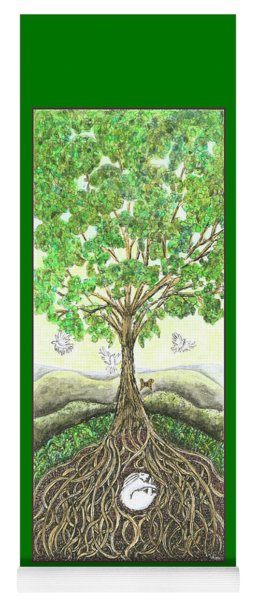 Yoga Mat featuring the painting Bunny Nap In Tree Roots by Lise Winne