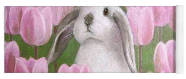 Bunny With Tulips Yoga Mat