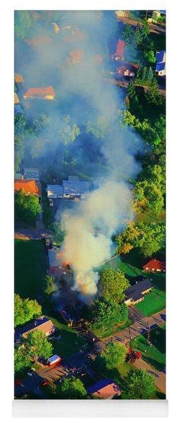 Burnin Down The House Aerial Single Family Home On Fire  Yoga Mat
