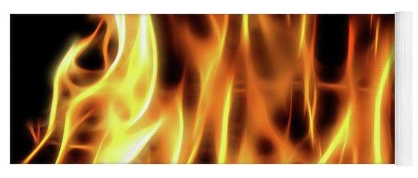 Burning Flames Fractal Yoga Mat