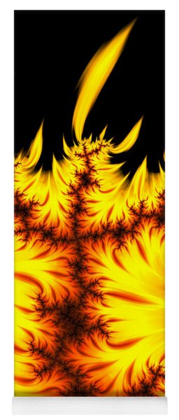 Burning Fractal Flames Warm Yellow And Orange Yoga Mat