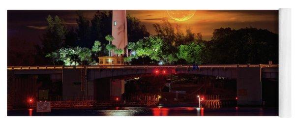 Burning Moon Rising Over Jupiter Lighthouse Yoga Mat