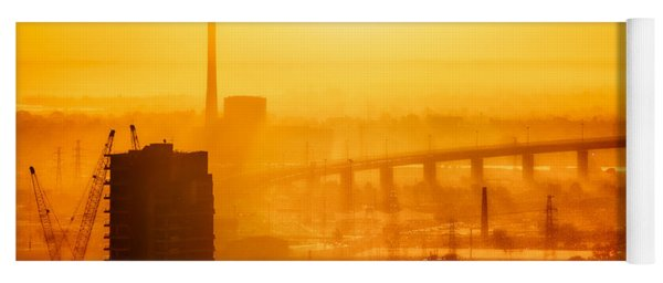 Yoga Mat featuring the photograph Burning Sunset Through Smog by Ray Warren