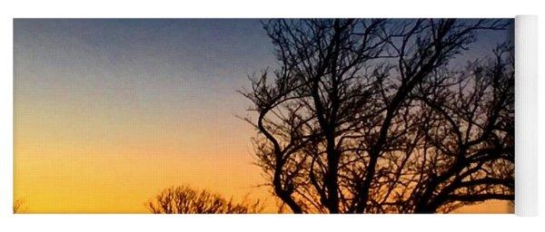 Burr Oak During Clear Winter Sunset Yoga Mat
