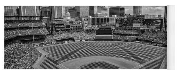 Busch Stadium St. Louis Cardinals Black White Ballpark Village Yoga Mat