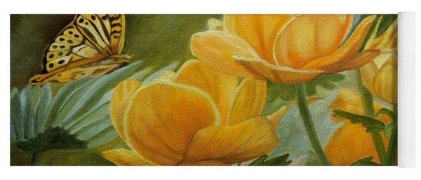 Butterfly Among Yellow Flowers Yoga Mat