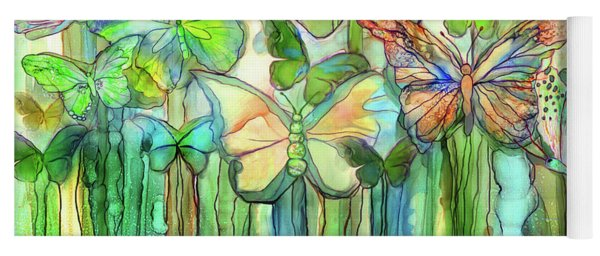 Butterfly Bloomies 3 - Rainbow Yoga Mat