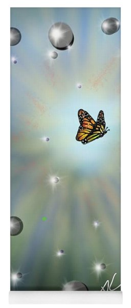 Yoga Mat featuring the digital art Butterfly Bubbles by Darren Cannell