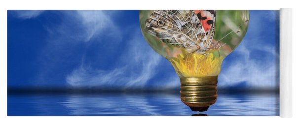 Yoga Mat featuring the photograph Butterfly In Lightbulb - Landscape by Shane Bechler