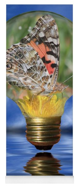 Butterfly In Lightbulb Yoga Mat