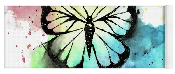Butterfly In Watercolor And India Ink Yoga Mat