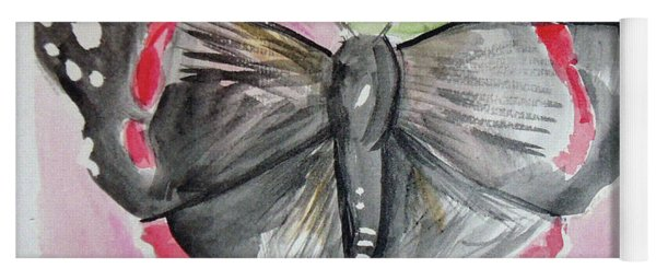 Yoga Mat featuring the drawing Butterfly by Loretta Nash