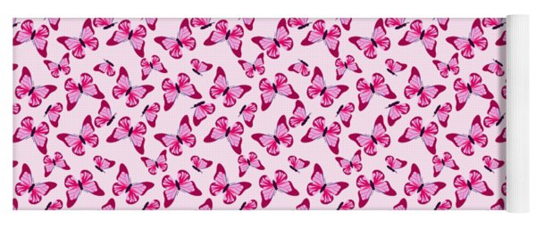 Butterfly Pattern In Pink Yoga Mat