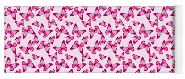 Butterfly Pattern In Pink Yoga Mat
