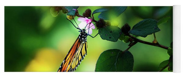 Butterfly With Flower Yoga Mat