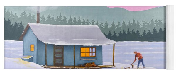 Cabin On A Frozen Lake Yoga Mat