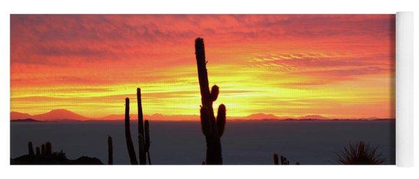 Cacti And Fiery Sunset Over Salar De Uyuni Bolivia Yoga Mat
