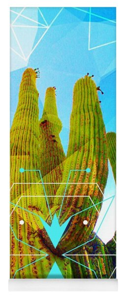 Yoga Mat featuring the mixed media Cacti Embrace by Michelle Dallocchio