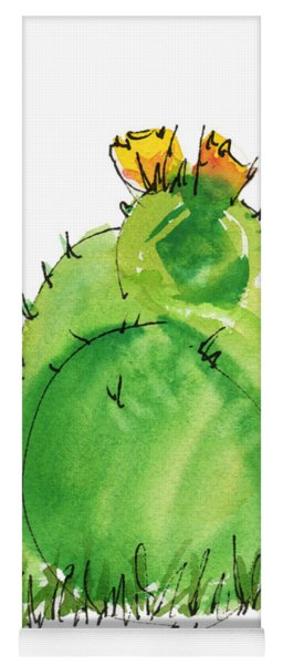 Cactus In The Yellow Flower Watercolor Painting By Kmcelwaine Yoga Mat