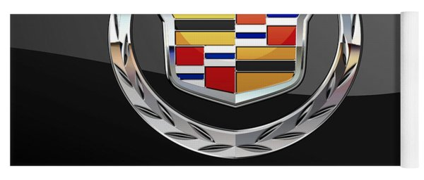 Cadillac - 3 D Badge On Black Yoga Mat