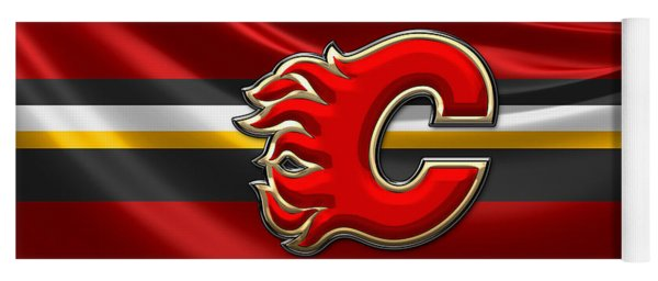 Calgary Flames - 3d Badge Over Flag Yoga Mat