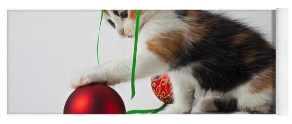 Calico Kitten And Christmas Ornaments Yoga Mat