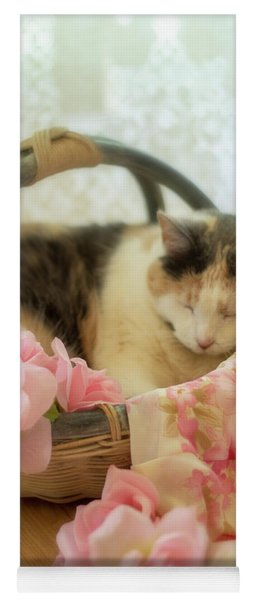 Calico Kitty In A Basket With Pink Roses Yoga Mat
