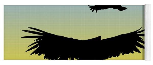 California Condors In Flight Silhouette At Sunrise Yoga Mat