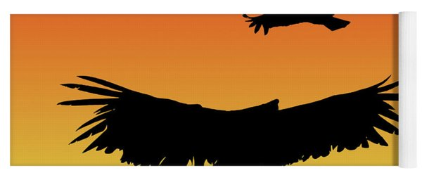 California Condors In Flight Silhouette At Sunset Yoga Mat