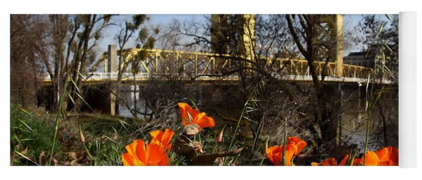 California Poppies With The Slightly Photographically Blurred Sacramento Tower Bridge In The Back Yoga Mat