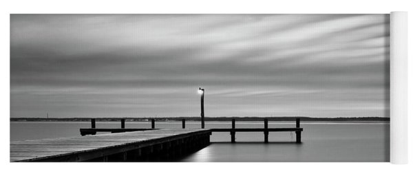 Calm Barnegat Bay New Jersey Black And White Yoga Mat