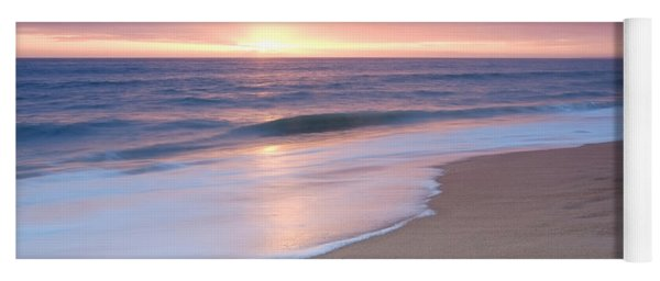 Calm Beach Waves During Sunset Yoga Mat