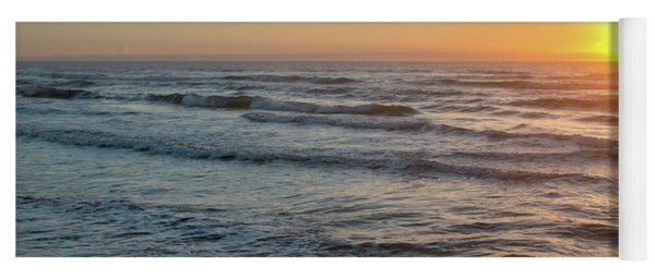 Calm Water Over Wet Sand During Sunrise Yoga Mat