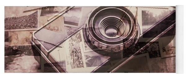 Camera Of A Vintage Double Exposure Yoga Mat
