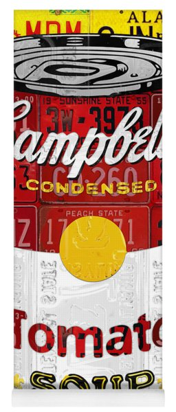 Campbells Tomato Soup Can Recycled License Plate Art Yoga Mat