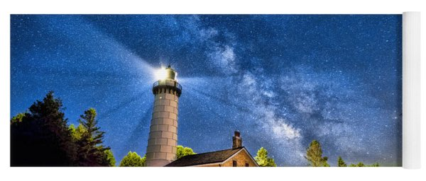 Cana Island Lighthouse Milky Way In Door County Wisconsin Yoga Mat